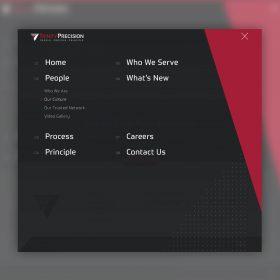 Trinity Precision Website Design Menu
